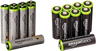 Amazonベーシック 充電池 充電式ニッケル水素電池 単3形8個セット (最小容量1900mAh、約1000回使用可能) & 充電池 高容量充電式ニッケル水素電池単4形8個セット (充電済み、最小容量 800mAh、約500回使用可能)
