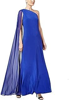 Calvin Klein Womens Draped Ball Gown Evening Dress Blue 8