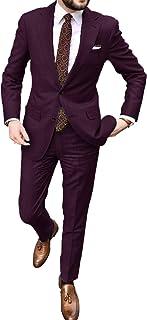 UMISS Men's 2-Piece Suit Two Buttons Notch Lapel Jacket Pants Wedding Formal Suit