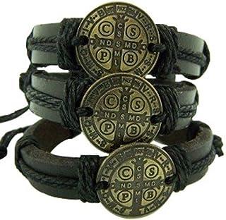 CB Leather Saint St Benedict Bracelet Pack S M L Bronze Tone Medal, Pack of 3