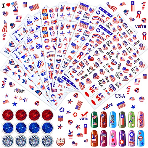 16 Sheets American Flag Nail Sticker 4th of July Nail Sticker Self Adhesive Independence Day Patriotic Nail Art Decal and 12 Boxes Nail Glitter Star Sequin Flakes for Women Girl Manicure Decoration