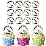 Guitare acoustique 24personnalisé comestible pour cupcakes/décorations de gâteau d'anniversaire–Facile prédécoupée + Cercles
