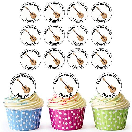 Akustische Gitarre 24 Personalisierte Vorgeschnittene Kreise - Essbare Cupcake Aufleger / Geburtstagskuchen Dekorationen
