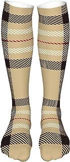 Tartan Seamless Pattern Background Camel Beige Sport Compression Socks for Men & Women (24in60cm)