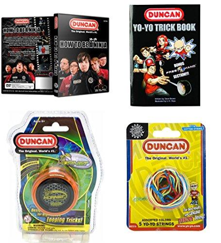 Duncan Intermediate YoYo Kit (4 Items) - Orange Hornet Yo-Yo, Multi-Color Yo-Yo String 5 Pack, Yo-Yo Trick Book, and How to Be A Yo-Yo Ninja DVD