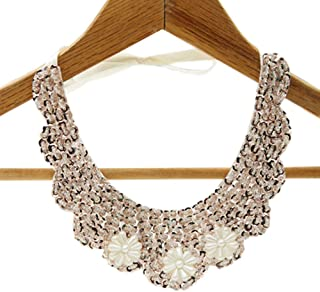 Detachable Blouse False Collar Sequins Pearl Flower Fake Collar Choker Peter Pan Necklace