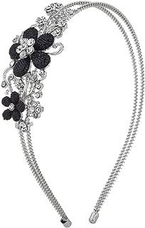 Lux Accessories Women's Bridal Bridesmaid Pearl Stretch Metal Coil Headband Headpiece