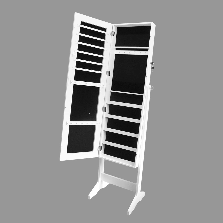Mirror Jewellery Cabinet Makeup Storage Jewelry Organiser Box Tall White