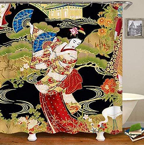 Fvfbd Digitaldruck Duschvorhang Kabuki Geisha 3D Vorhang sehr weich und rutschfest waschbar und schnelltrocknend-150 x 180cm
