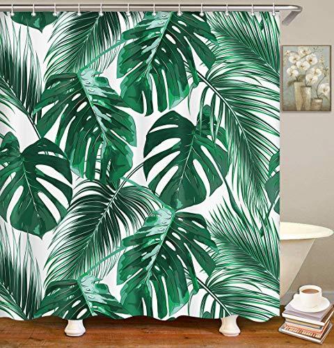Britimes Duschvorhang Monstera Dschungelblätter Pflanze Regen Wald abstrakt schöne wasserdichte Polyestergewebe Badezimmer Dekor Bad 183 x 183 cm Set mit Haken