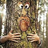 FONDUO Baumstamm Deko,4-teilig Baumgesichter für Bäume, Alter Mann Baumgesicht Baumumarmer, Garden Peeker Yard Art Baumgesicht Alter Mann, Gartendeko (Baumgesicht A)