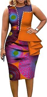 Women African Print Dress Plus Size Printed Stretch Tight Stretch Dress Elegant Short Sleeve Midi Dresses Cocktail Evening...