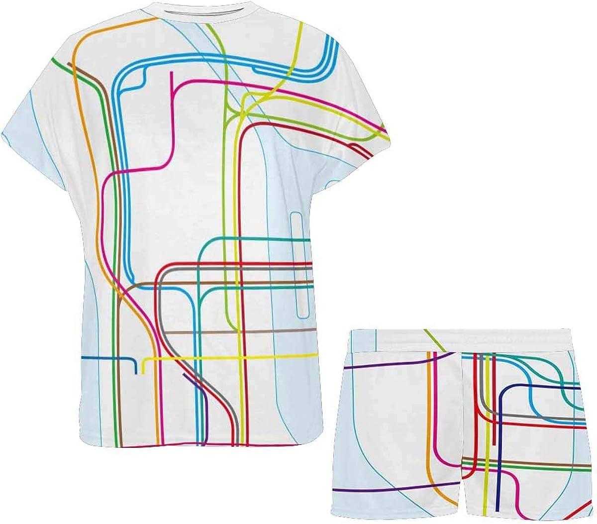 InterestPrint Colored Subway Map Women's Short Sleeve Breathable Sleepwear Two Piece Pajama Set