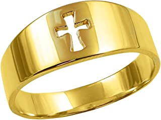 Men's Solid 14k Yellow Gold Cut-Out Cross Band Ring