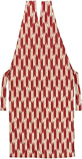 [でぃあじゃぱん] 着物エプロン 矢絣 赤 和装 前掛け ポーチ 伝統文様