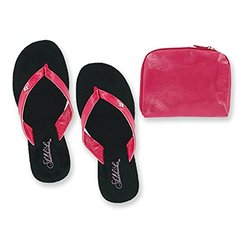e461a04f3539f1 Sidekicks Foldable Flip Flop Sandals - with Carrying Pouch - Pink - Small