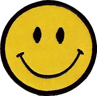 1 X Smiley Happy / Smile Face Logo Badge Iron on Patches (Dia. 2 3/4