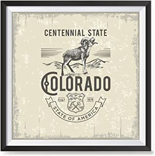 EzPosterPrints - USA State Icon Posters - Poster Printing USA Flags Icons Symbol Wall Posters- Wall Art Print for Home Office Decor - Colorado - 12X12 inches