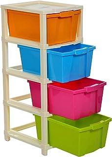 Mopik 4 Layer Foldable Modular Drawer Organizer Multipurpose Drawers Boxes Storage Rack, Extra Large Basket, Plastic (Mult...