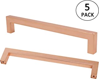 Kitchen Cabinet Handles Rose Gold Finish 7 9/16 inch Hole Spacing Drawer Pulls 5PACK Square Bar Handle Stainless Steel Hardware Shiny Copper Dresser Door Knob