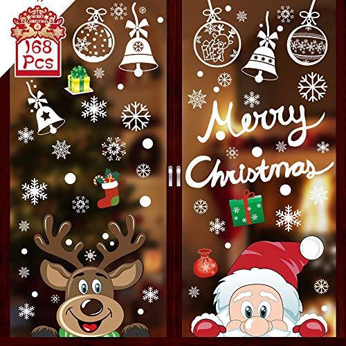 168 Weihnachten Fenstersticker, Fensterbilder Weihnachten Selbstklebend, Weihnachten Aufkleber Fenster, Netter Weihnachtsmann Rentier Schneeflocken Aufkleber Winter Dekoration Weihnachtsdeko Removable