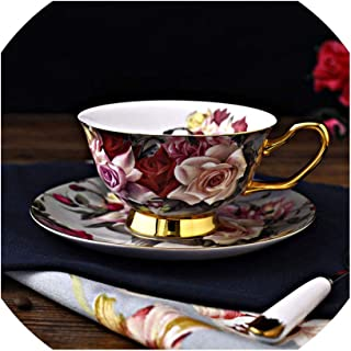 Dream-catching Creative Rose Flower Porcelain Coffee Cup And Saucer Gold-Rimmed Floral Ceramic Teacup Afternoon Tea Cups Sets,200ml,A