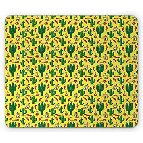 Mexikanische Mausunterlage,Mexiko Thema Kaktus Flaschen der Tequila Paprika und Maracas Muster Kultur,Standardgrößen Rechteck rutschfestes Gummimousepad,Mehrfarben 30X25CM