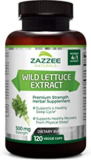 Zazzee Wild Lettuce Extract, 500 mg Strength per Capsule, 120 Veggie Caps, Most Potent Lactuca Virosa Variety, Powerful 4X Extract, Vegan and Non-GMO, All-Natural Sleep Aid and Pain Reliever
