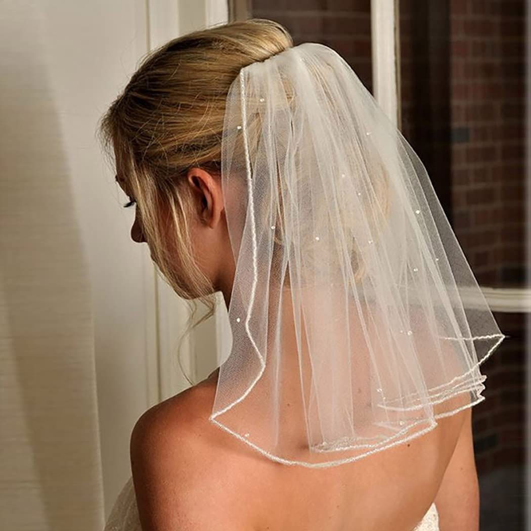 Haraty Crystal Bridal Veils Short 1 Tier Veil Soft Mesh With Comb Wedding Party Bride Veil Hair Accessories for Women and Girls (Ivory)