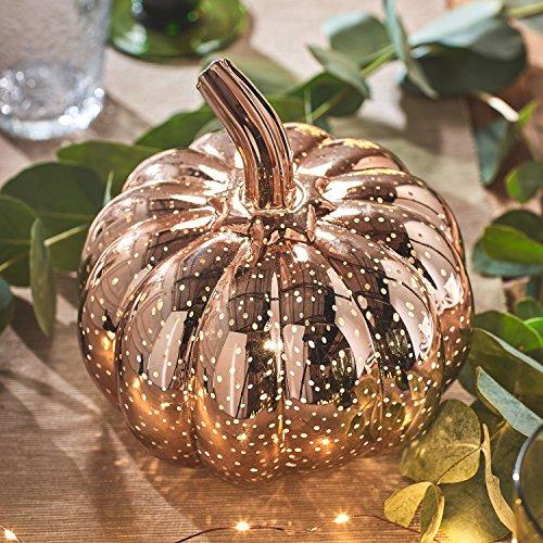 Lights4fun - Zucca Decorativa in Vetro Oro Rosato ad Effetto Punteggiato con LED Bianco Caldo a Pile