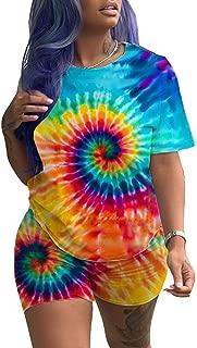 Women Casual 2 Piece Outfit Short Sleeve Tie Dye Round Neck Bodycon Shorts Jumpsuit Rompers Plus Size (Multicolor,XL)