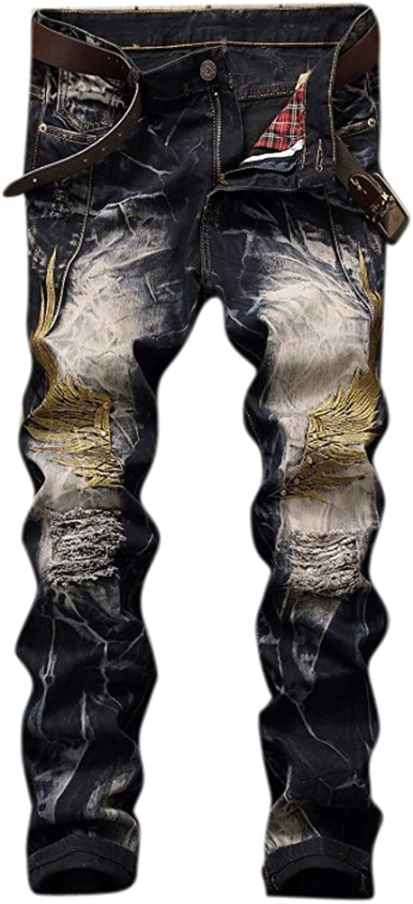 Men's Heavily Bleached Retro Wings store Jeans B Embroidery Distressed Today's only