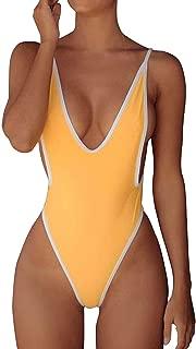 FITTOO Women Monokini Retro Thong One Piece Swimsuit Deep V High Cut Sexy Trikini Cheeky Backless