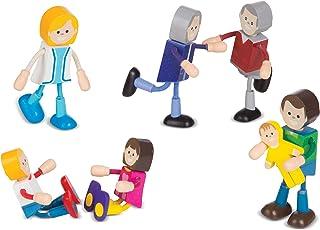Melissa & Doug Wooden Flexible Figures - Light Skin-Tone Doll Family