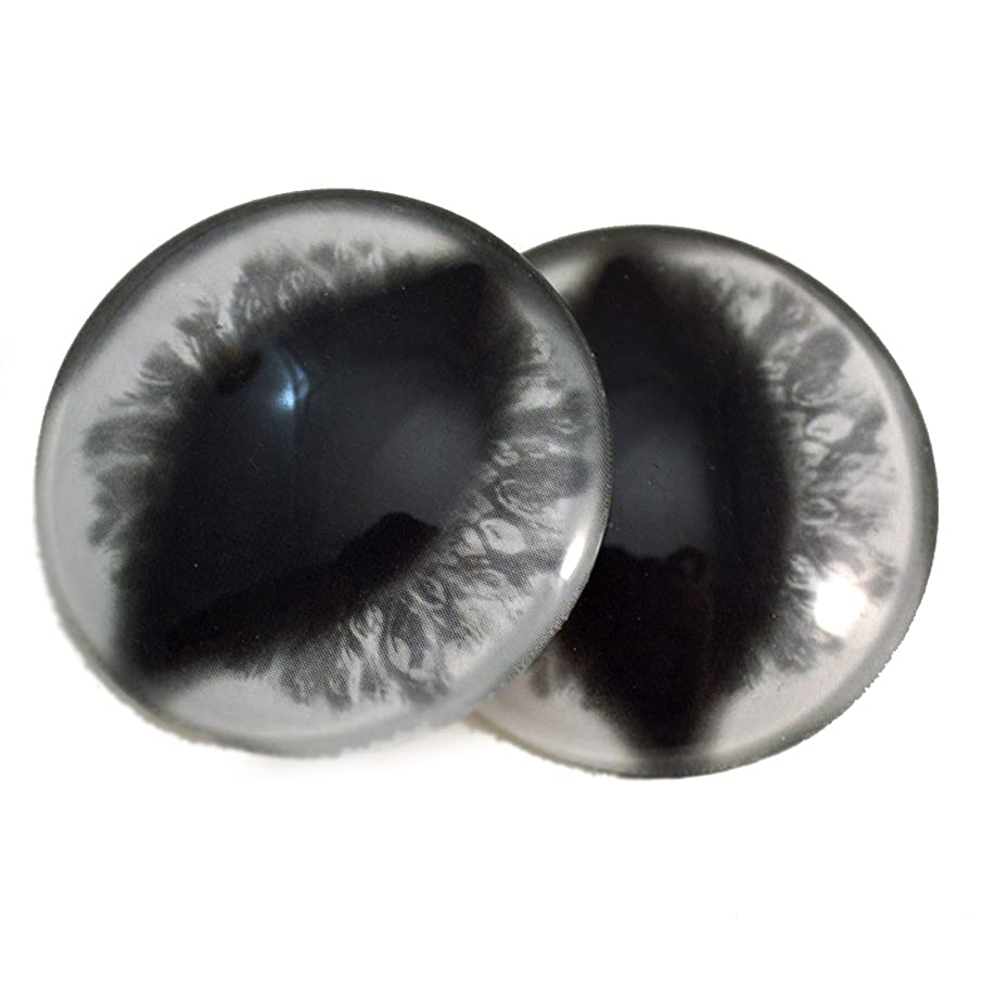 40mm White Glass Eyes Fantasy Cabochons for Art Doll Taxidermy Sculptures or Jewelry Making Set of 2