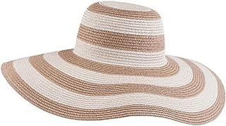 FTSUCQ Womens/Big Girls Striped Floppy Hat Sun Bonnet Folding Large Brim Cap