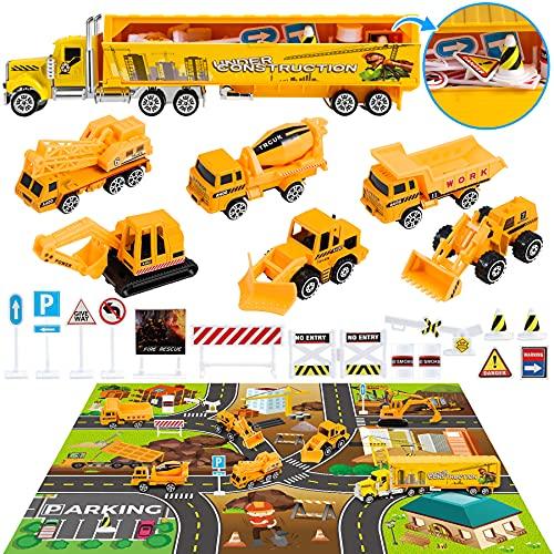 COOJOMMY Baufahrzeug Spielzeugautos Sets,Baustellenfahrzeuge Bagger Spielzeug,Baustelle Fahrzeuge Kinderspielzeug,Baustelle LKW Spielzeugautos mit Stadt Game Pad und Baustellenschild