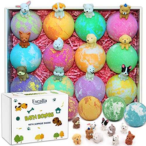 Bath Bombs for Kids with Toys Inside for Girls Boys - Bulk 4.2 Oz 12 PCs Bubble Bath Fizz Balls Gift Set with Surprised Puppy Toy, Gentle and Kids Safe for Easter Eggs Stuffers Christmas Birthday