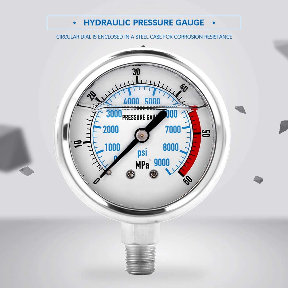Hydraulic Challenge the lowest price of Japan ☆ Gauge Max 86% OFF Clear Indication Ga Pressure Pointer Fan-Shaped