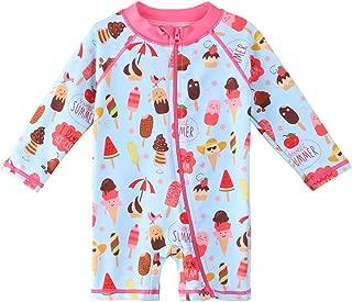 HUAANIUE Baby/Toddler Girl Swimsuit Long Sleeve One-Piece Swimwear Rashguard