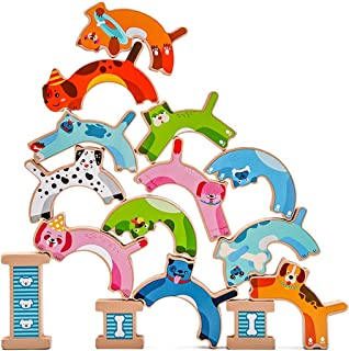 Licogel Animals Stacking Toys Wood 15PCS Dog Educational Funny Safe Interactive Early Learning Toys for Boys Girls