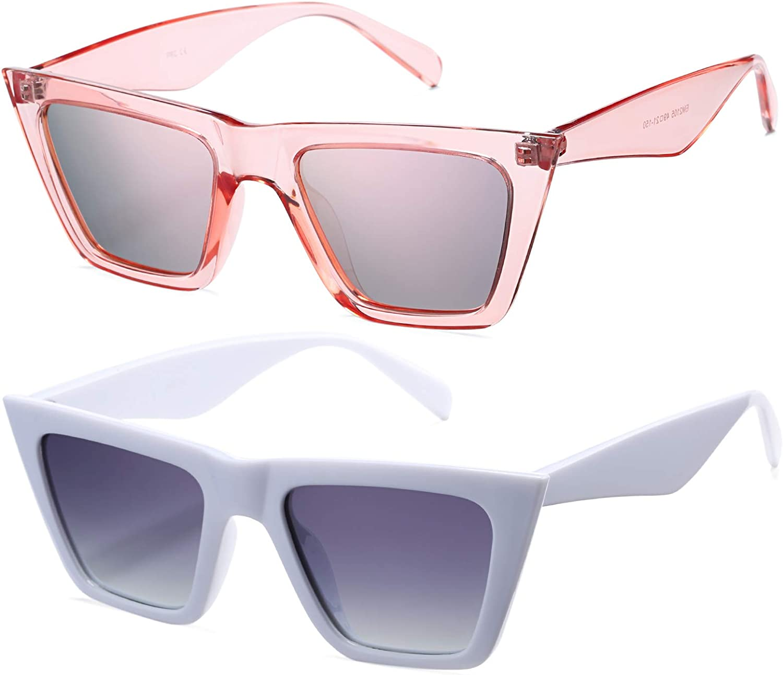 Retro Cat Eye Polarized Sunglasses for Women Men Trendy Square S - soundroompro.com