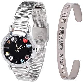 Cianowegy Kpop BTS Bangtan Boys Quartz Wrist Watches, Mesh Band Watch and Bracelet Set, Gift for BTS Girls BTS Kids BTS Army