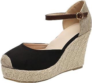 604e5c2b0aca2 Lloopyting Women s Fashion Wedge with Buckle Pearl Rhinestone Casual  Crystal Shoes Super High Bohemian Sandals