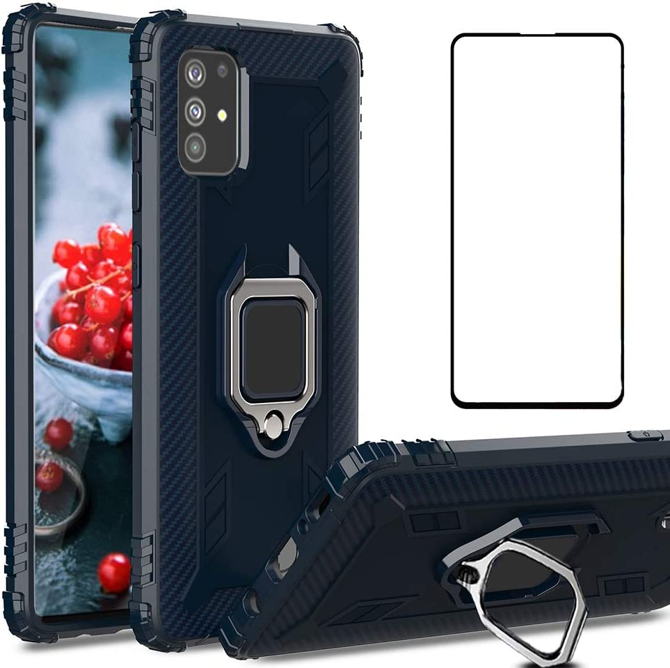 Phone Case for Samsung Galaxy A71 5G with Tempered Glass Screen Protector Cover and Cell Accessories Magnetic Ring Holder Stand Kickstand Slim Silicone Glaxay A 71 Gaxaly 71A S71 SM-A716 Cases Blue