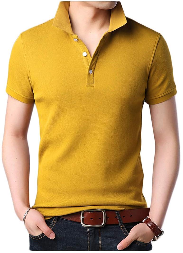 グロー息切れスリット[ワン アンブ] 半袖 ポロシャツ カットソー 無地 シャツ トップス シンプル 生地 インナー M ~ XL メンズ