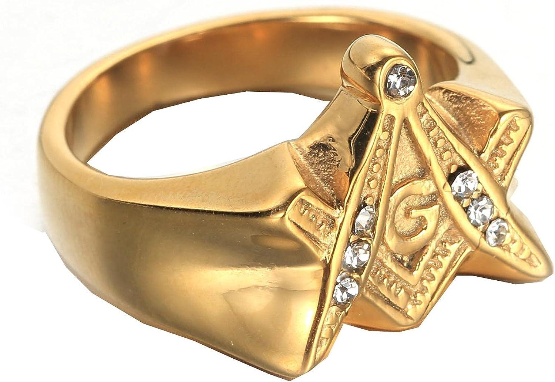 White Max 49% OFF Zircon Men's All stores are sold Gold Free Mason Masonic 316L Freemason Stainl