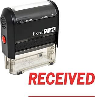 RECEIVED With Signature Line - ExcelMark Self-Inking Rubber Stamp - A1539 Red Ink