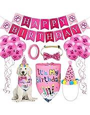 Xnuoyo Decoracion Cumpleaños para Perros,Reutilizable Sombrero Pañuelo Banner de Cumpleaños para Perros, Globo para Mascotas Regalo Set de Cumpleaños Perros Decoración de Fiesta de Cumpleaños(Rosa)