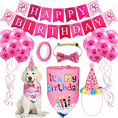 Xnuoyo Decoracion Cumpleaños para Perros,Reutilizable Sombrero Pañuelo Banner de Cumpleaños para Perros, Globo para Mascotas Regalo Set de Cumpleaños Perros Decoración de Fiesta de Cumpleaños(